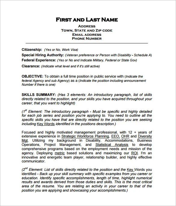 Federal Resume Template -10+ Free Word, Excel, PDF Format Download - Resume Format Builder