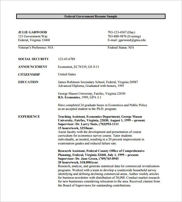 Federal Resume Template -10+ Free Word, Excel, PDF Format Download - government resume templates