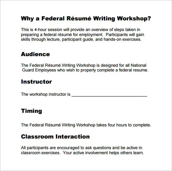 federal resume writing guide federal resume guide national archives federal resume template 10 free word excel