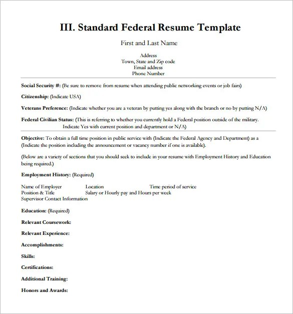 Federal Resume Template -8+ Free Word, Excel, PDF Format Download - Resume Guide