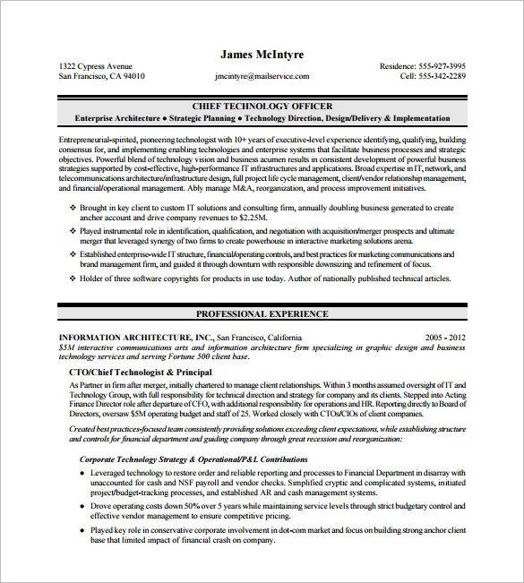 Executive Resume Template -12+ Free Word, Excel, PDF Format Download