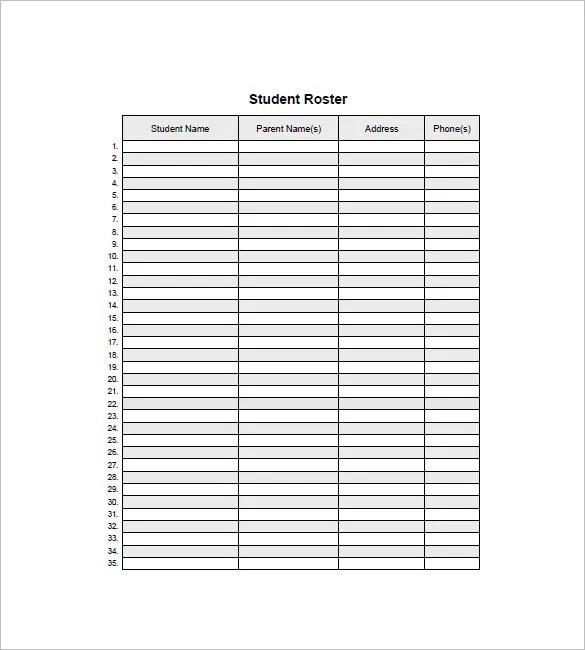 Class List Template - 15 Free Word, Excel, PDF Format Download - blank roster
