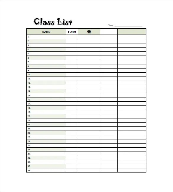 Class List Template - 15 Free Word, Excel, PDF Format Download - phone roster template