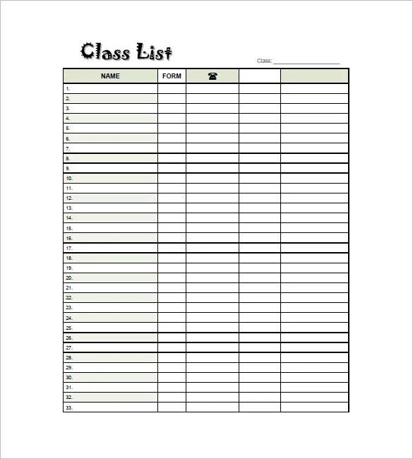 class list templates - Goalgoodwinmetals - project task list template word