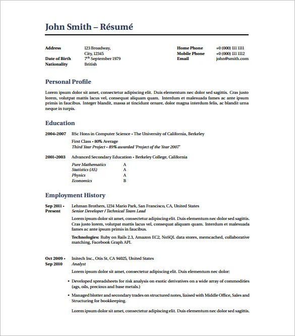 Latex Resume Template \u2013 8+ Free Word, Excel, PDF Free Download - resume template latex