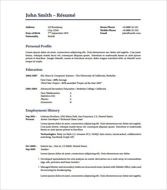 download latex best cv template