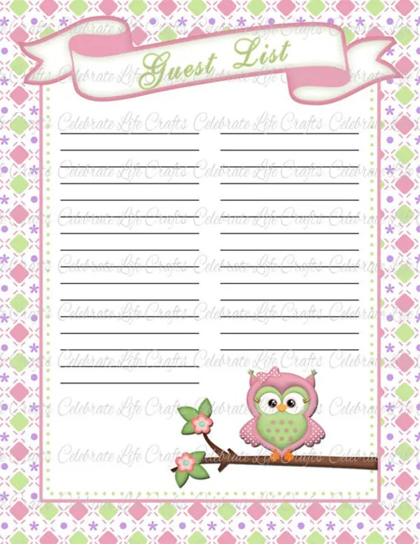Baby Shower Guest List Template - 8+ Free Word, Excel, PDF Format