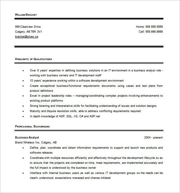 Business Analyst Resume Template \u2013 11+ Free Word, Excel, PDF Free