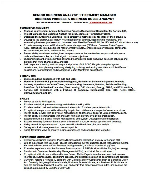 Business Analyst Resume Template \u2013 11+ Free Word, Excel, PDF Free