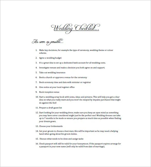 Wedding To Do List Template - 8+ Free Word, Excel, PDF Format