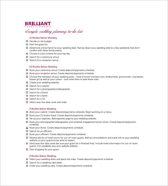 Wedding To Do List Template - 8+ Free Word, Excel, PDF Format - wedding list