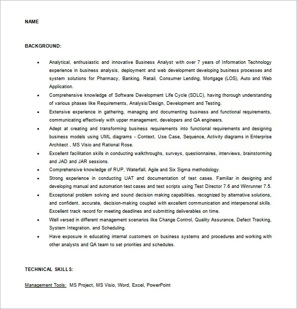 Business Analyst Resume Template \u2013 11+ Free Word, Excel, PDF Free - Pmo Analyst Sample Resume