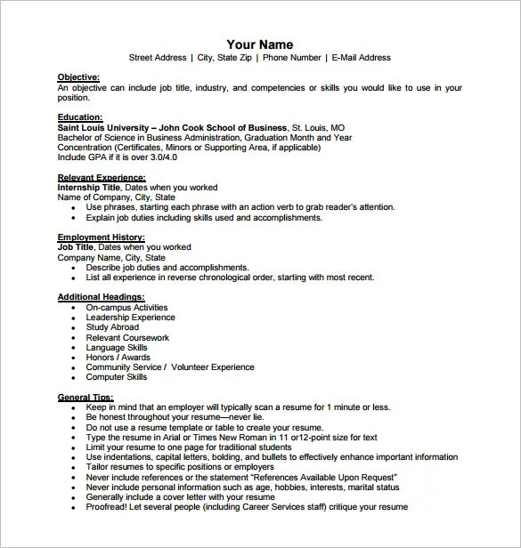 Business Resume Template  2013 11+ Free Word, Excel, PDF Format Download - international experience resume