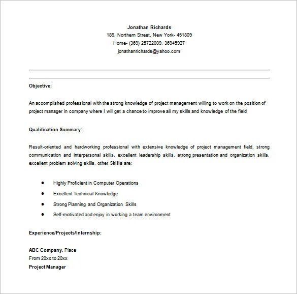 Project Manager Resume Template \u2013 8+ Free Word, Excel, PDF Format - resume for project manager position