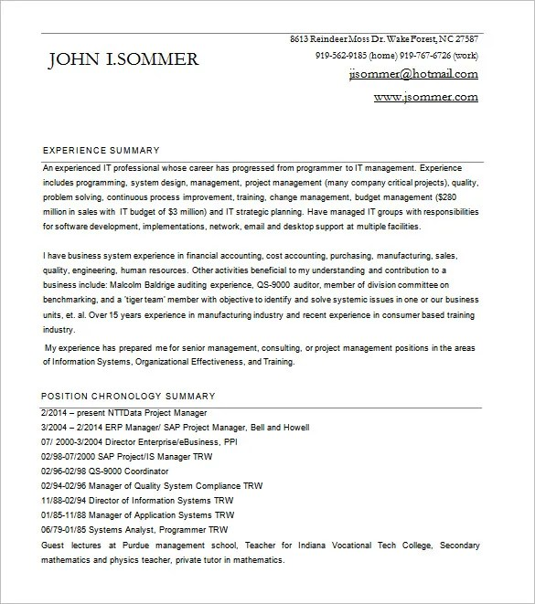 Project Manager Resume Template \u2013 8+ Free Word, Excel, PDF Format