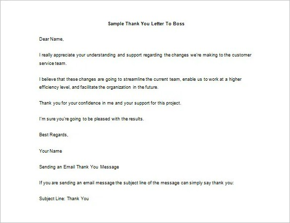 Thank You Letter To Boss Personal Thank You Letter - Personal - thank you for your support letter