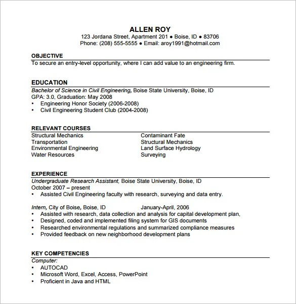 Construction Resume Template \u2013 9+ Free Word, Excel, PDF Format