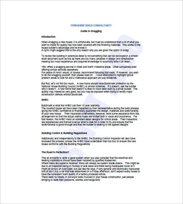 Snag List Template - 6+ Free Word, Excel, PDF Format Download - service list sample