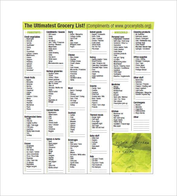 10+ Blank Grocery List Templates - PDF, DOC, Xls Free  Premium - grocery list sample