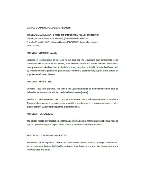 7+ Commercial Lease Templates - Free Sample, Example, Format - sample commercial lease agreement