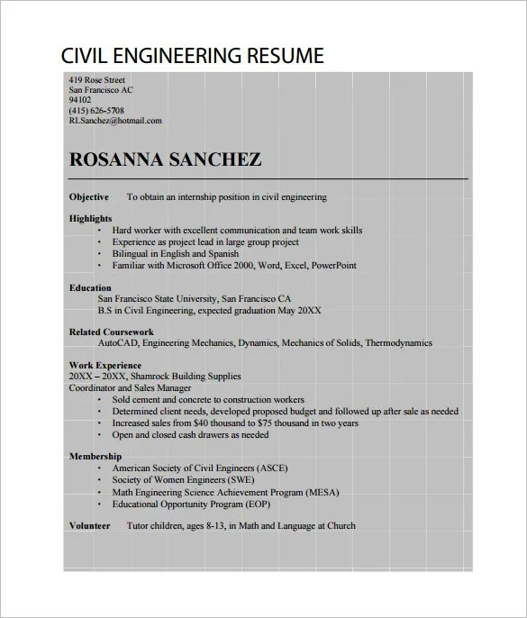 10+ Civil Engineer Resume Templates - Word, Excel, PDF Free - resume civil engineer