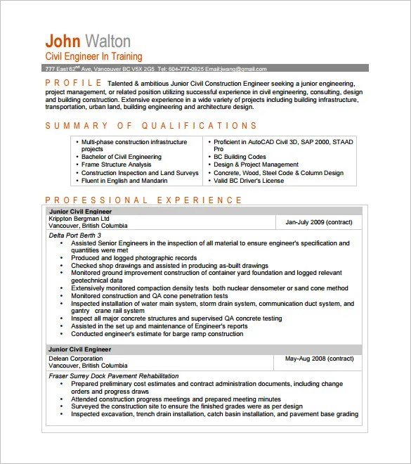 13+ Civil Engineer Resume Templates - PDF, DOC Free  Premium - building engineer sample resume