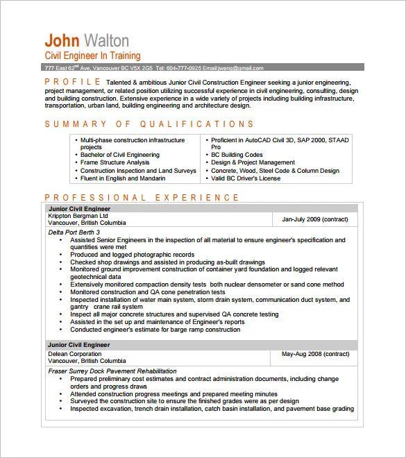 civil engineer cv pdf