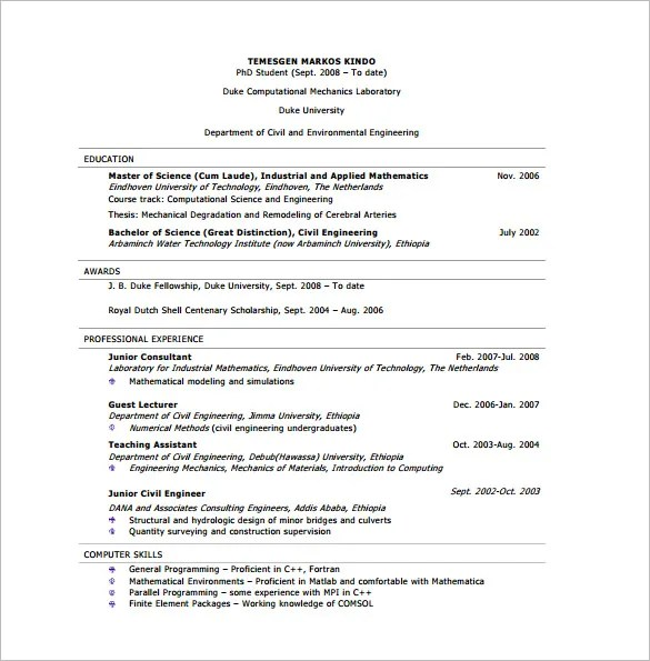 10+ Civil Engineer Resume Templates - PDF, DOC Free  Premium - civil engineer sample resume