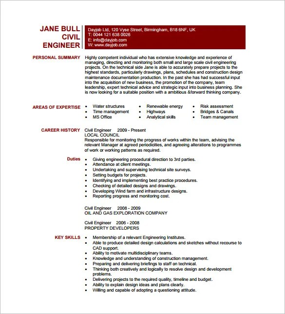 13+ Civil Engineer Resume Templates - PDF, DOC Free  Premium