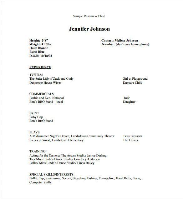 microsoft word acting resume template