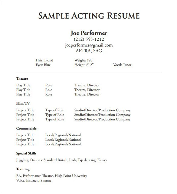 Acting Resume Template \u2013 8+ Free Word, Excel, PDF Format Download - Free Printable Resume Templates Downloads