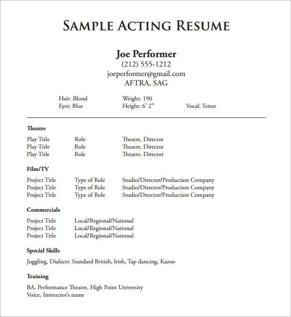 theatre resume template microsoft word