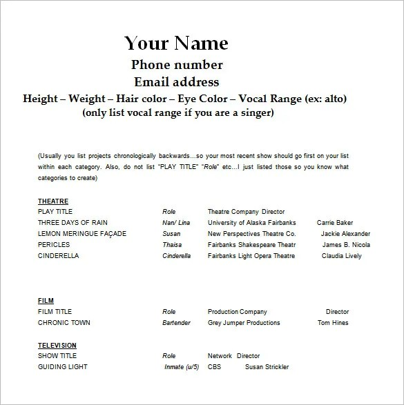 Acting Resume Template \u2013 8+ Free Word, Excel, PDF Format Download - Resume Examples Byu