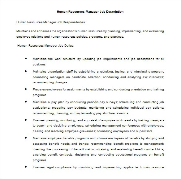 Human Resources Manager Duties  AnuvratInfo