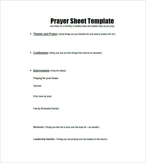 Prayer List Template - 8+ Free Word, Excel, PDF Format Download