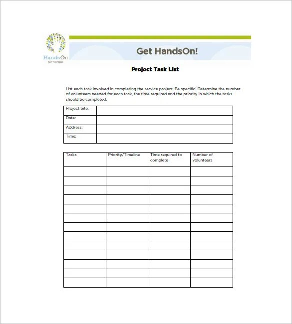 Project Task List Template - 10+ Free Word, Excel, PDF Format