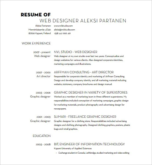 Designer Resume Template \u2013 10+ Free Word, Excel, PDF Format Download