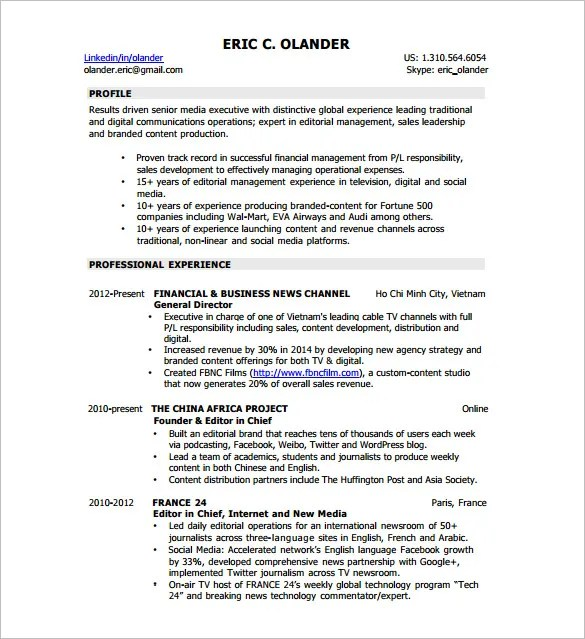 Digital Resume Template \u2013 8+ Free Word, Excel, PDF Format Download