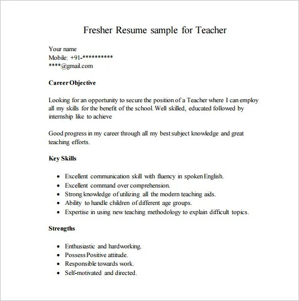 Simple Resume Format For Teacher Job – Biodata for Teaching Job