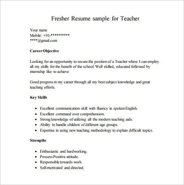 resume writing tips for freshers pdf