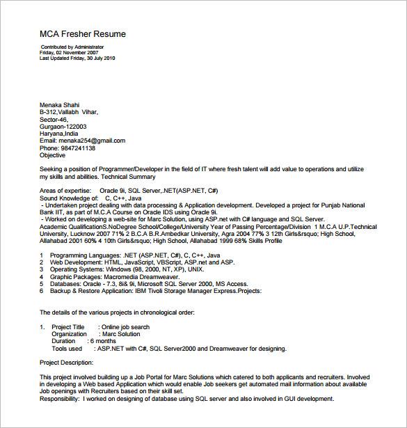 sample cover letter for mca freshers
