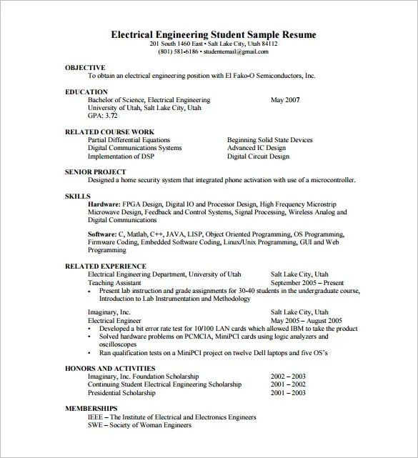 14+ Resume Templates for Freshers - PDF, DOC Free  Premium Templates - Resume Electrical Engineer
