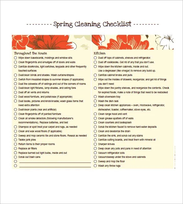 Cleaning List Template \u2013 10+ Free Word, Excel, PDF Format Download