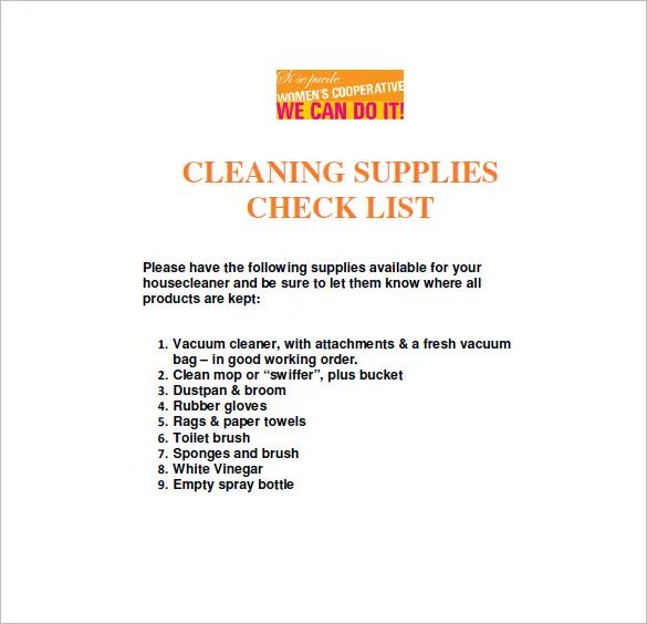 cleaning list template free