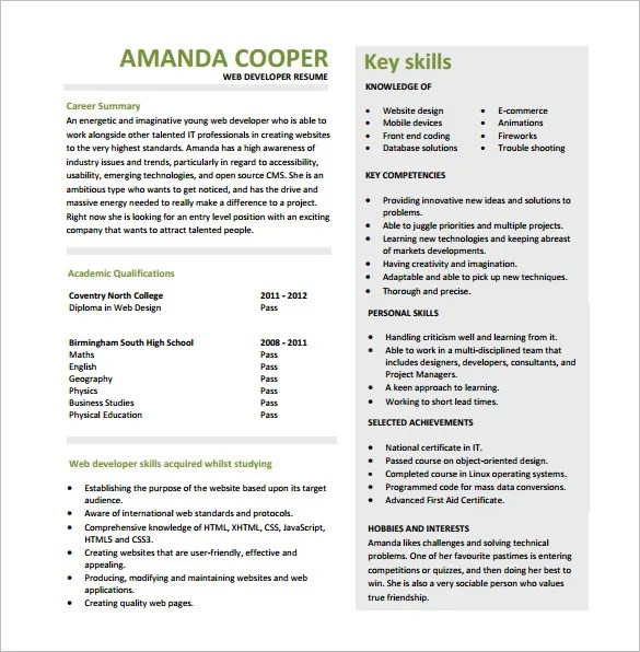 11+ Web Developer Resume Templates - DOC, PDF Free  Premium Templates - Web Development Resume