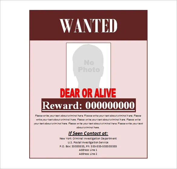 Printable Wanted Poster Template For Kids – Printable Wanted Poster Template