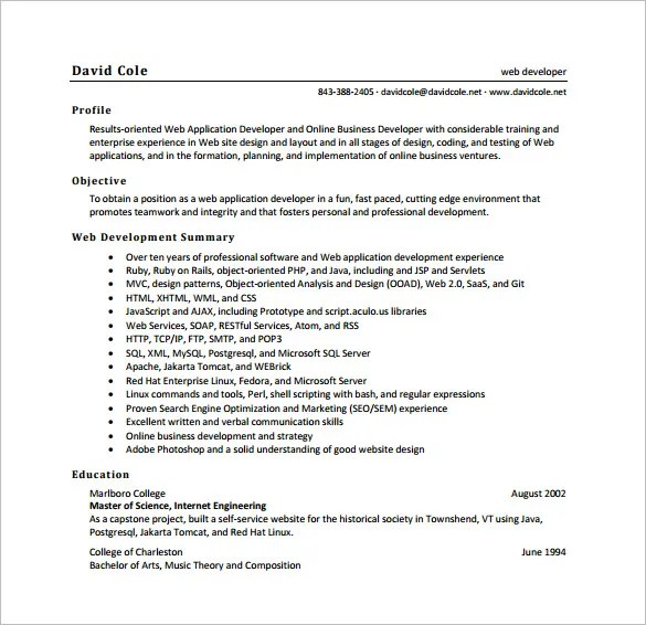 php web developer resumes - Elitaaisushi - Web Developer Resume