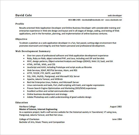 sample resume for experienced net developer download