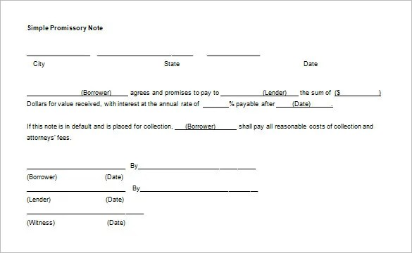 Promissory Note Template - 34+ Free Word, PDF Format Free - legal promise to pay document