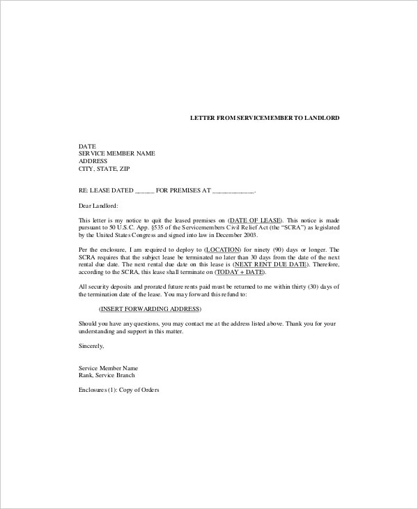 6+ Lease Termination Templates - Free Sample, Example, Format - sample lease termination letter